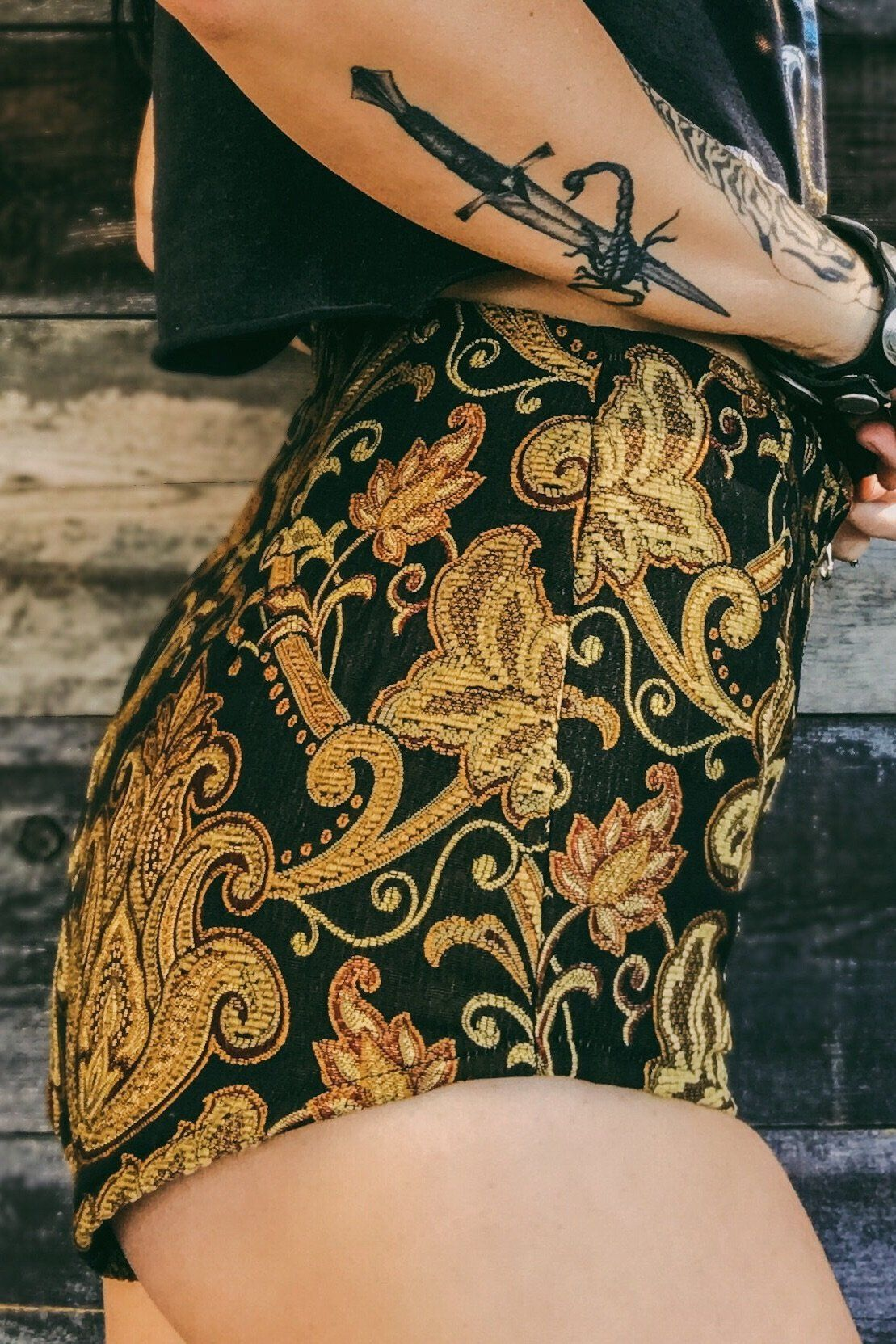 PRE-ORDER Golden Nights Zip Front Tapestry Shorts