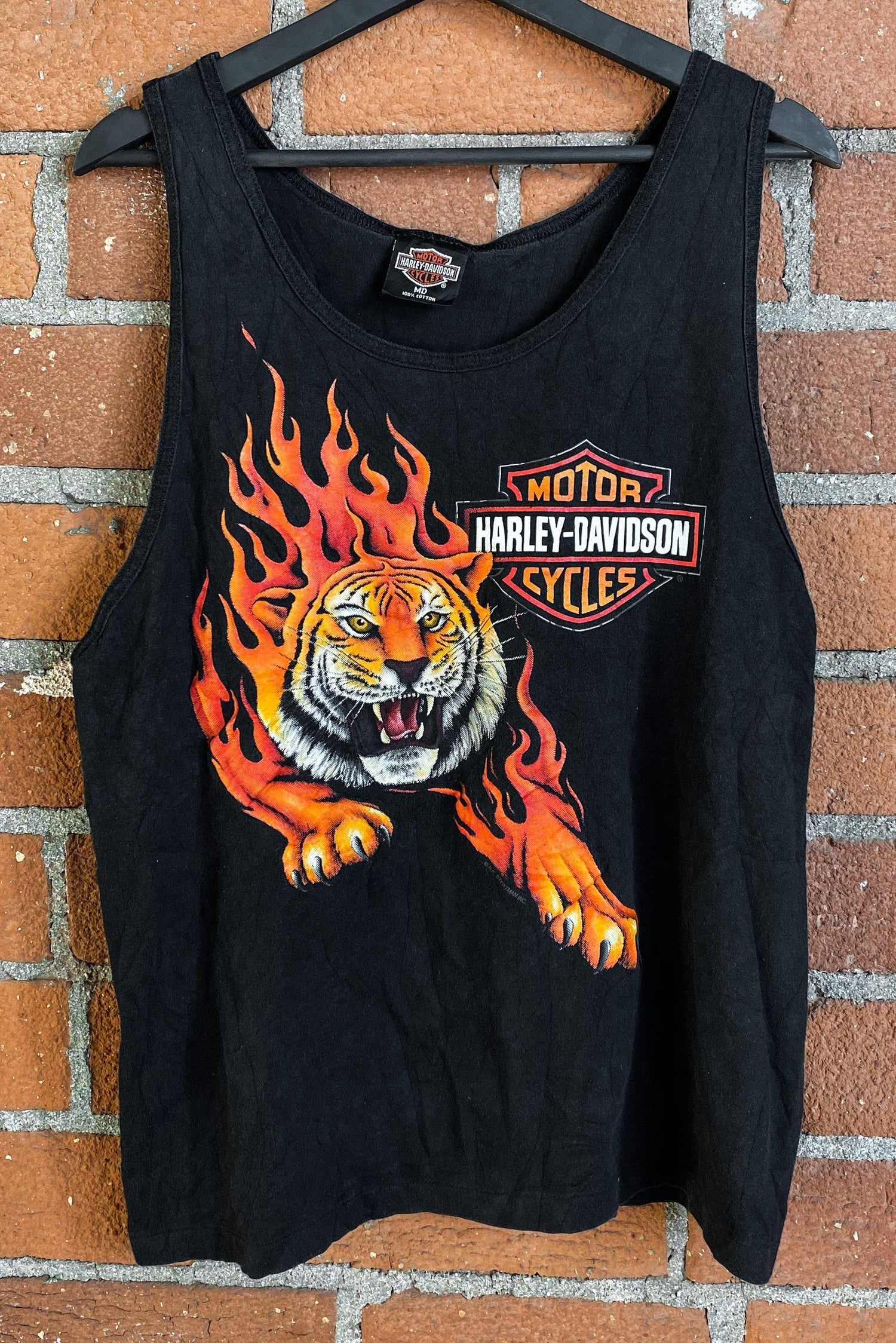Vintage Harley Flaming Tiger Tank Top, Outerwear, BACKBITE, BACKBITE