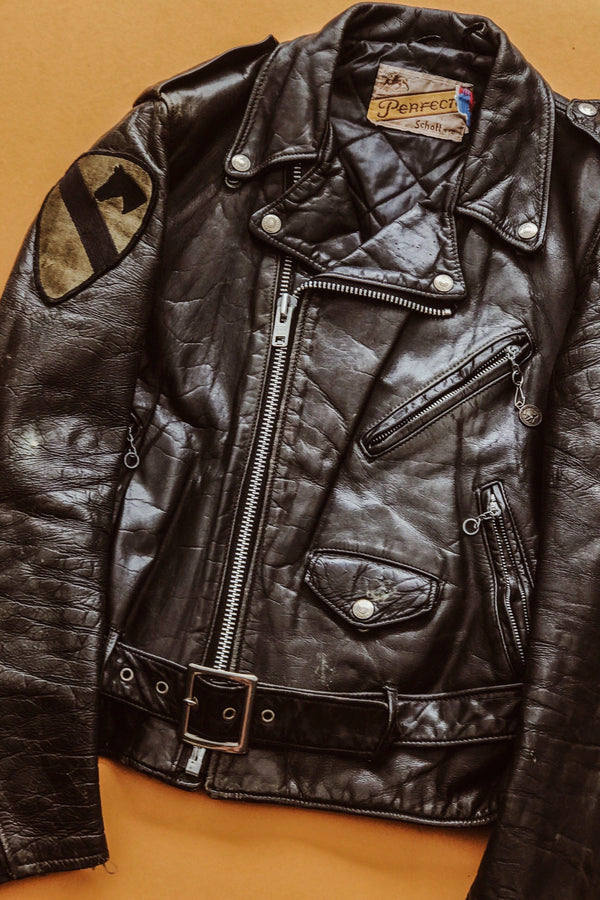 1970s Incredible Perfectly Worn-In Patched Schott Perfecto Leather Jacket, Outerwear, BACKBITE, BACKBITE