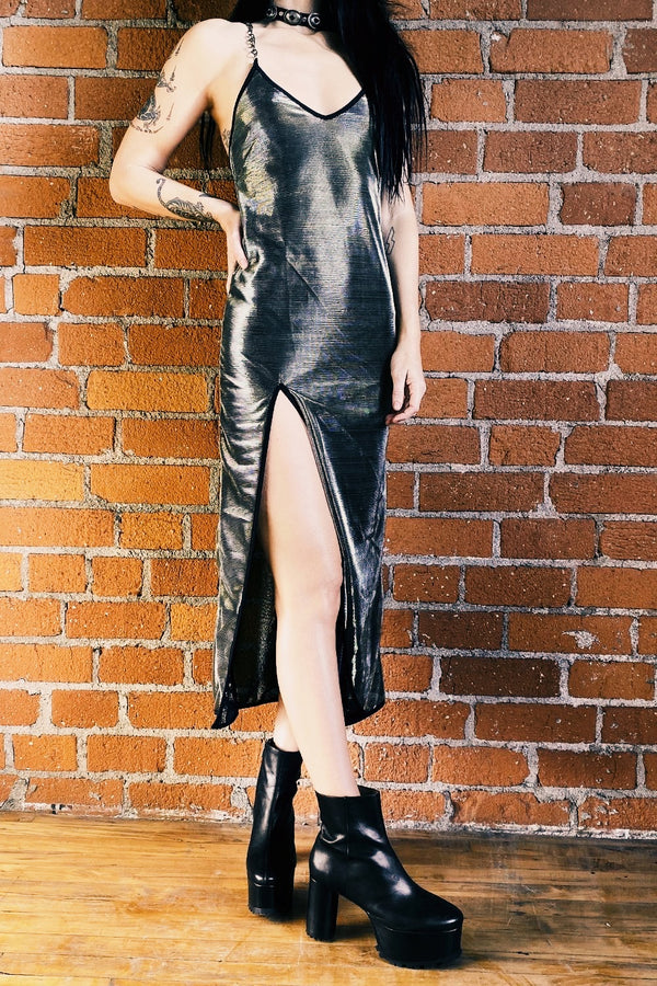 The Angelina Chain Dress・Metallic Silver Gold