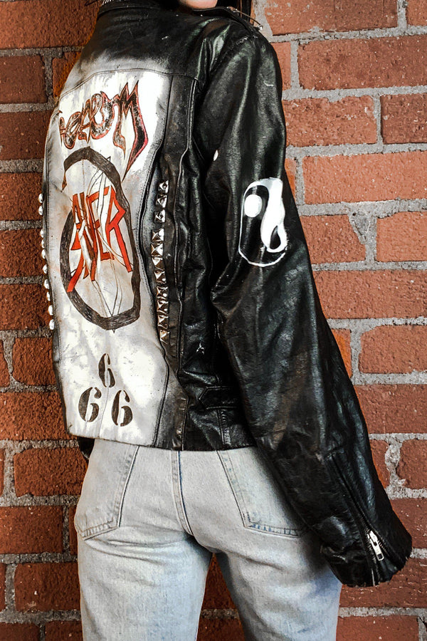 Reign In Blood Vintage Hand-Painted Leather Jacket, Outerwear, BACKBITE, BACKBITE