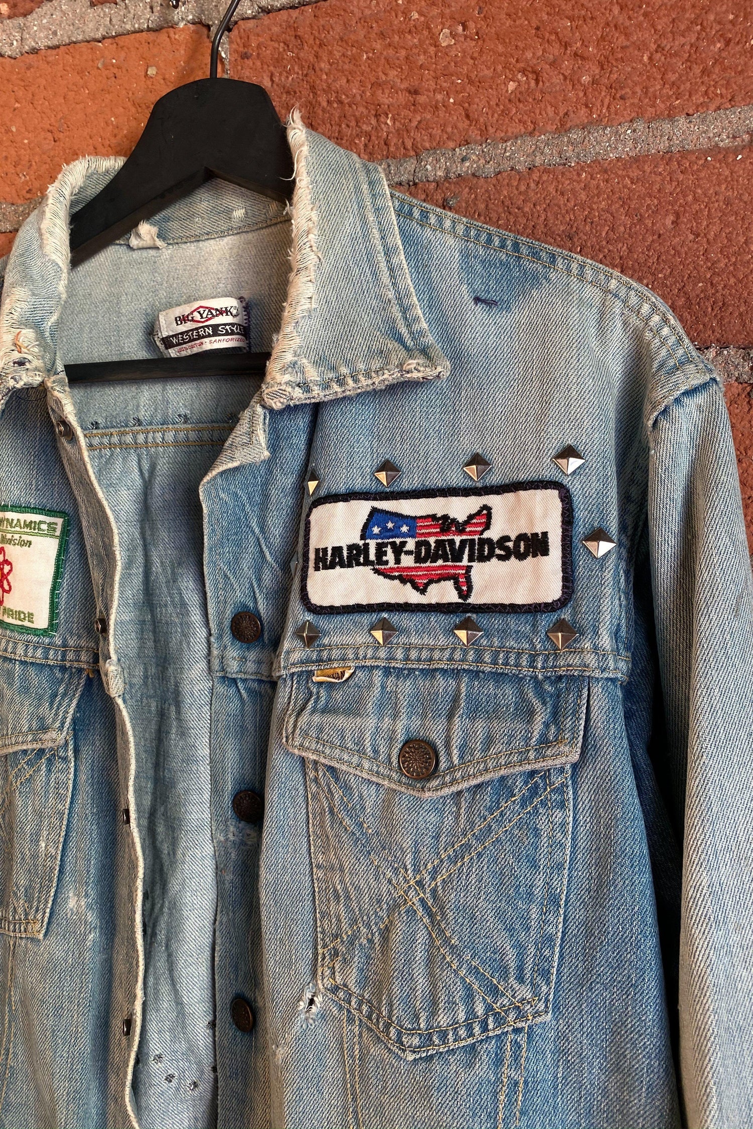 1970s Patched and Studded Denim Jacket, Outerwear, BACKBITE, BACKBITE
