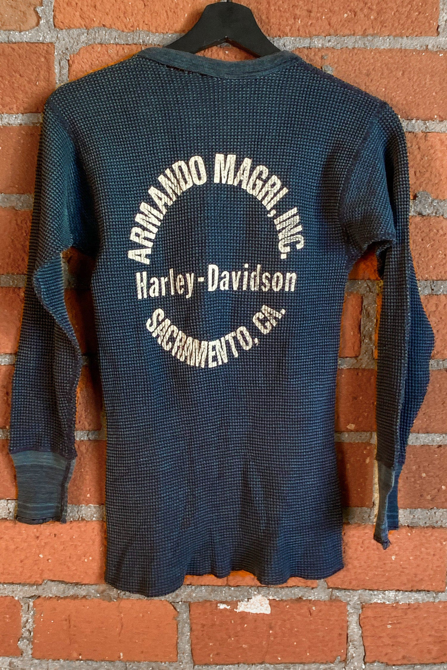 Heavily Worn Vintage Harley Davidson Thermal, Outerwear, BACKBITE, BACKBITE