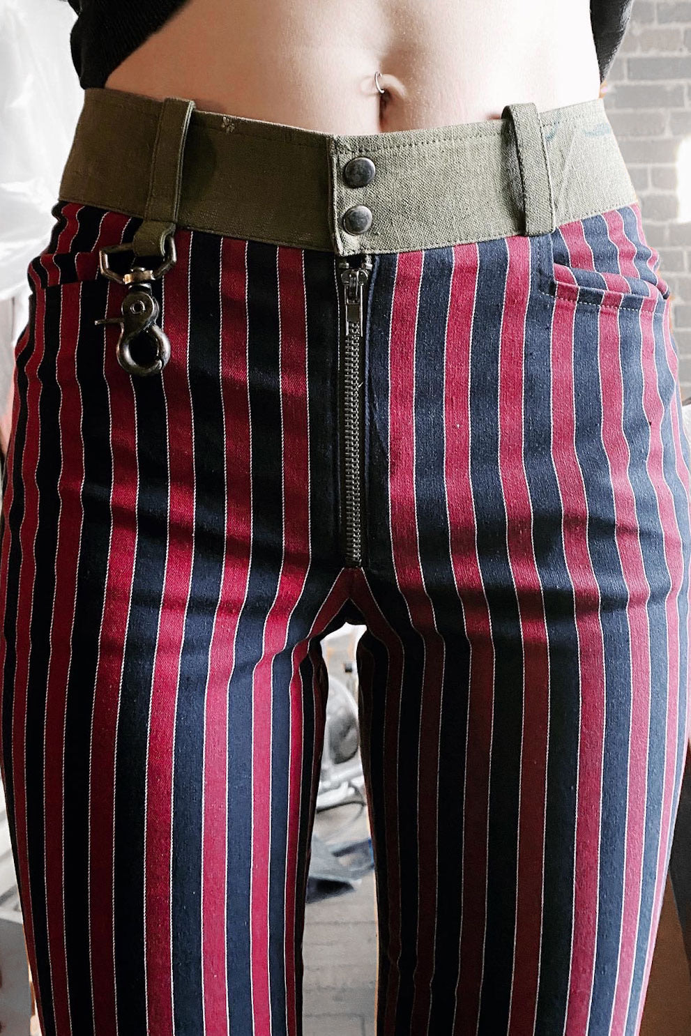 Trainspotting Cropped Skinny Pants: Railroad Stripe | Made To Order (Size 29 & 30 In Stock)