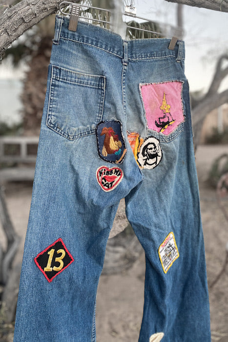 70s Patched High Waisted Jeans
