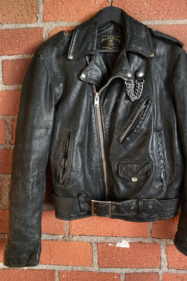 Chained Up 1970s Bukman Leather Jacket, Outerwear, BACKBITE, BACKBITE