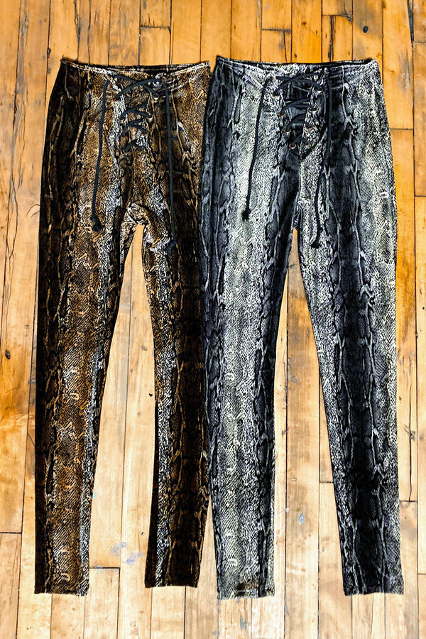 IN STOCK Velvet Grommet Pants Size XS・Grey Python, bottoms, BAD VIBES, BACKBITE
