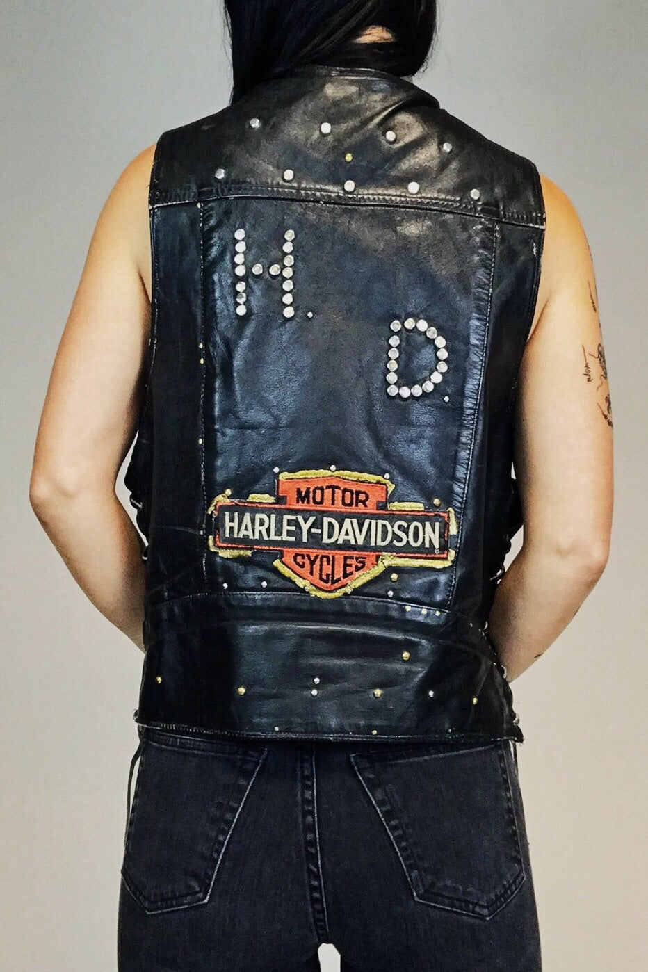 Patched and Studded Vintage Leather Harley Vest