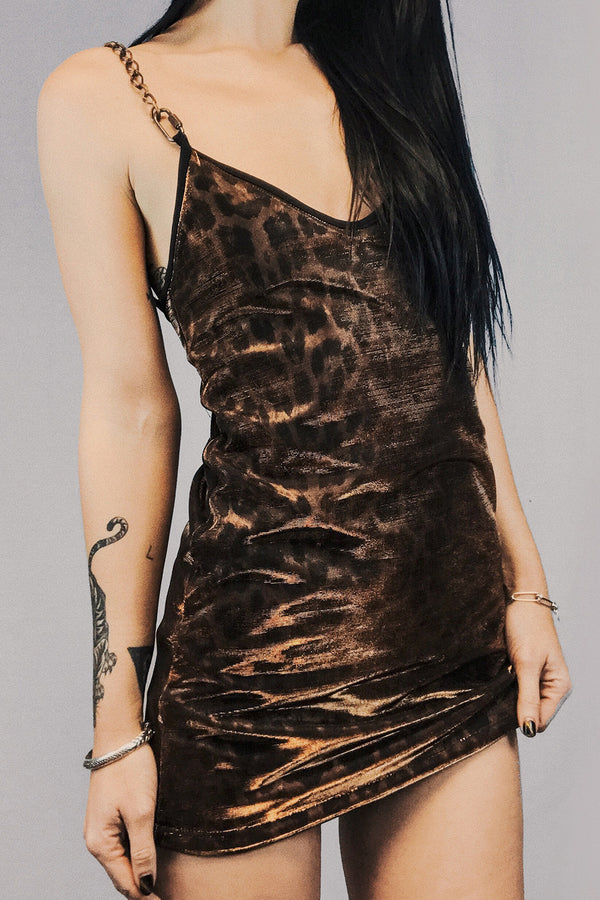 The Heavy Metal Chain Dress in Jaguar Velvet & Bronze Metallic Mesh