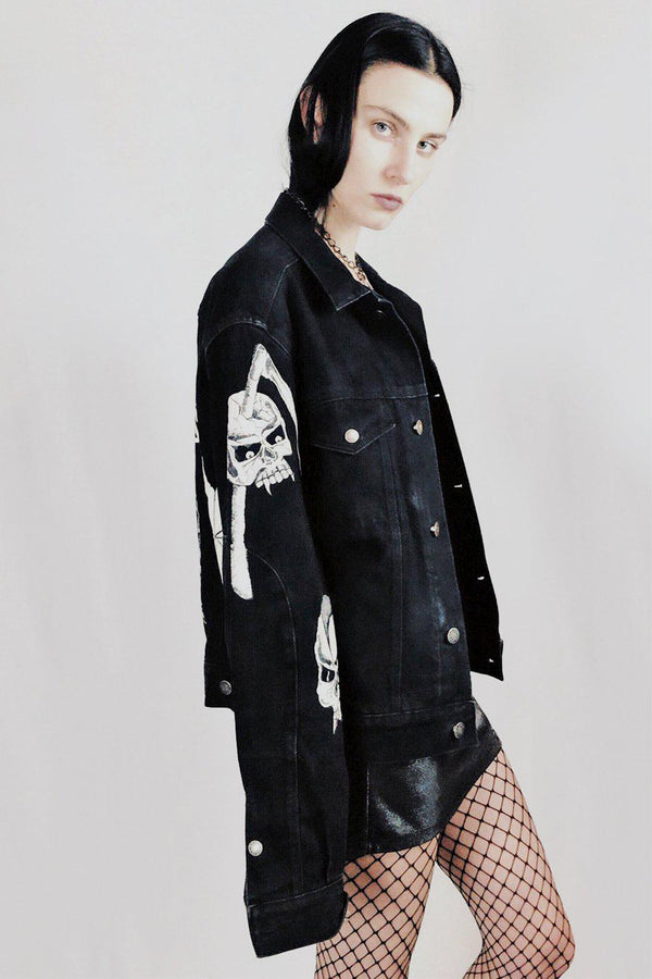 Vintage Hand Painted Calvin Klein Black Denim Jacket