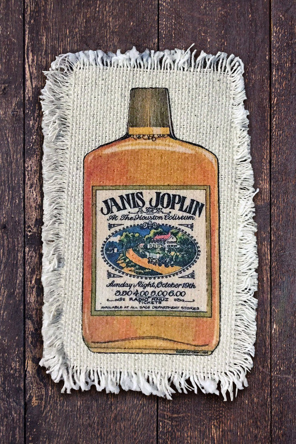 Janis Joplin Whiskey Recycled Canvas Patch, Patches/Pins, IN HOUSE, BACKBITE