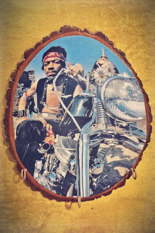 Custom Jimi Hendrix South Saturn Motorcycle Wall Plaque, Home Adornment, BACKBITE, BACKBITE