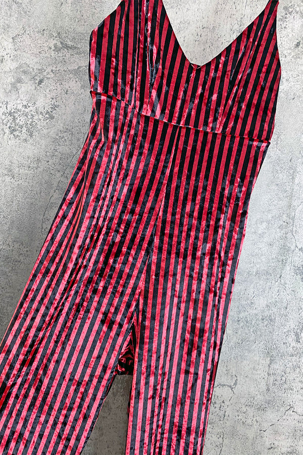 Striped Velvet Jumpsuit | In Stock