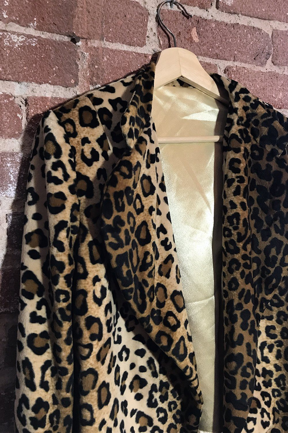 Lightweight Faux Fur Leopard Satin-Lined Jacket