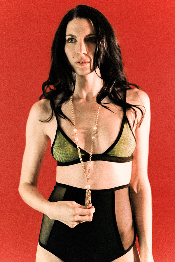 The Lynx Lingerie Set in Bamboo Viper Mesh