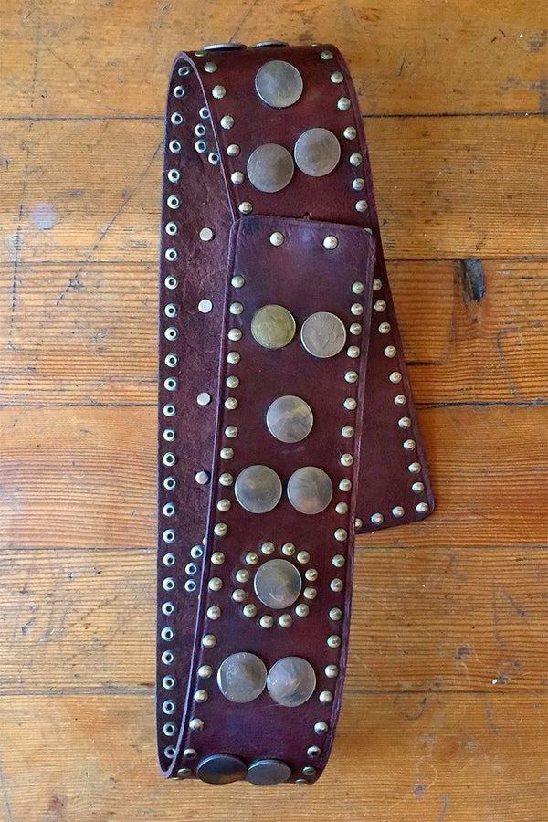 Vintage Moroccan Coin Medallion Leather Belt