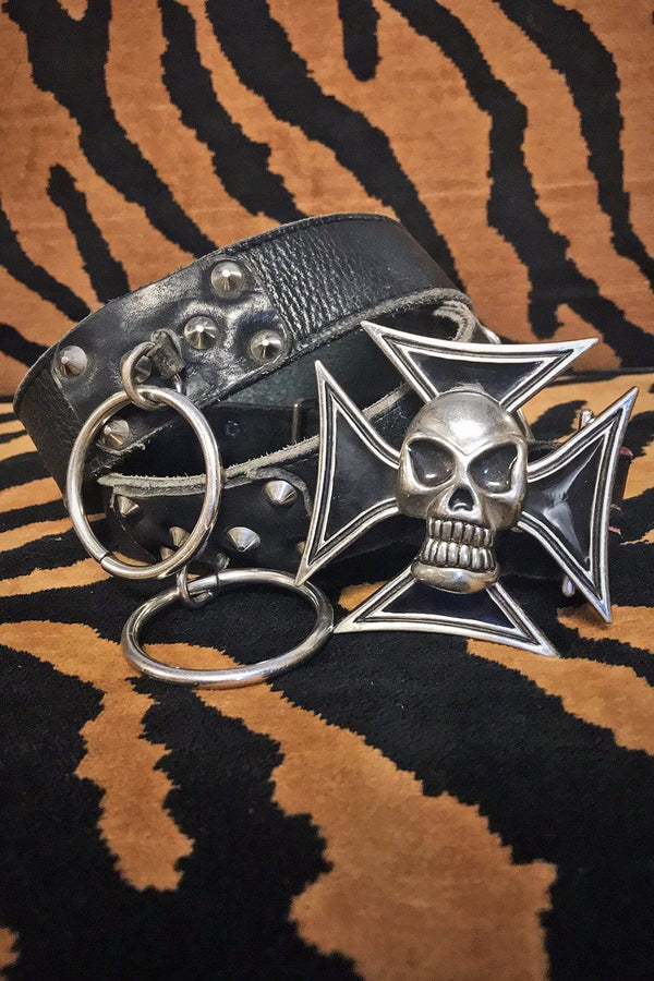 Kiss The Devil Early 80s O-Ring Leather Belt