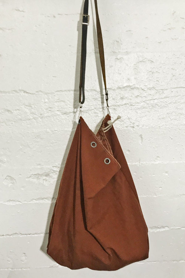 Recycled 1960s/70s Dyed Postal Service Bag w/ Vtg. Military Belt Strap (Burnt Orange)