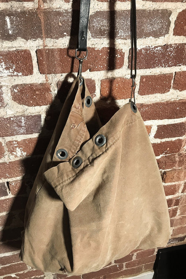 Recycled 1960s/70s Dyed Postal Service Bag w/ Vtg. Military Belt Strap (Tan)