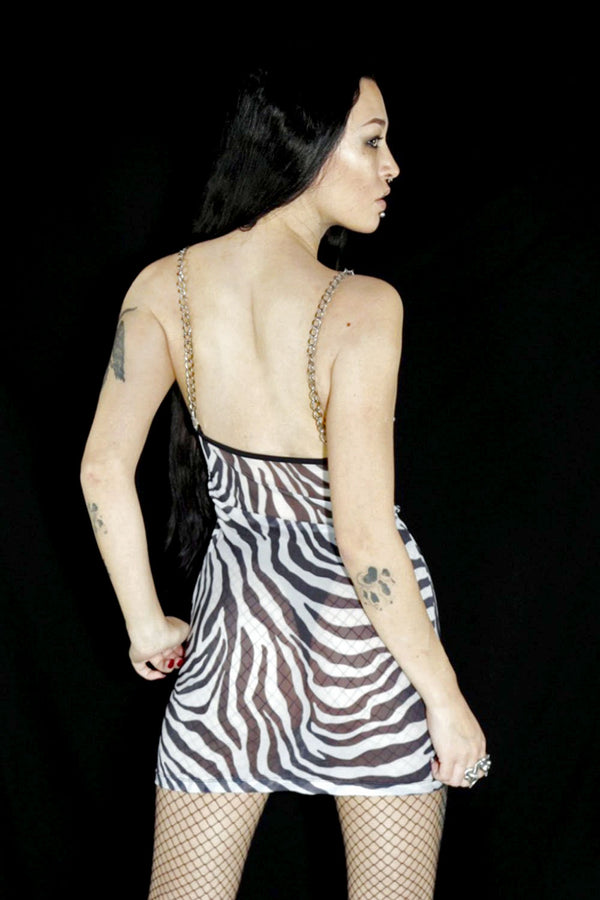 PRE-ORDER The Heavy Metal Chain Dress in Zebra Mesh