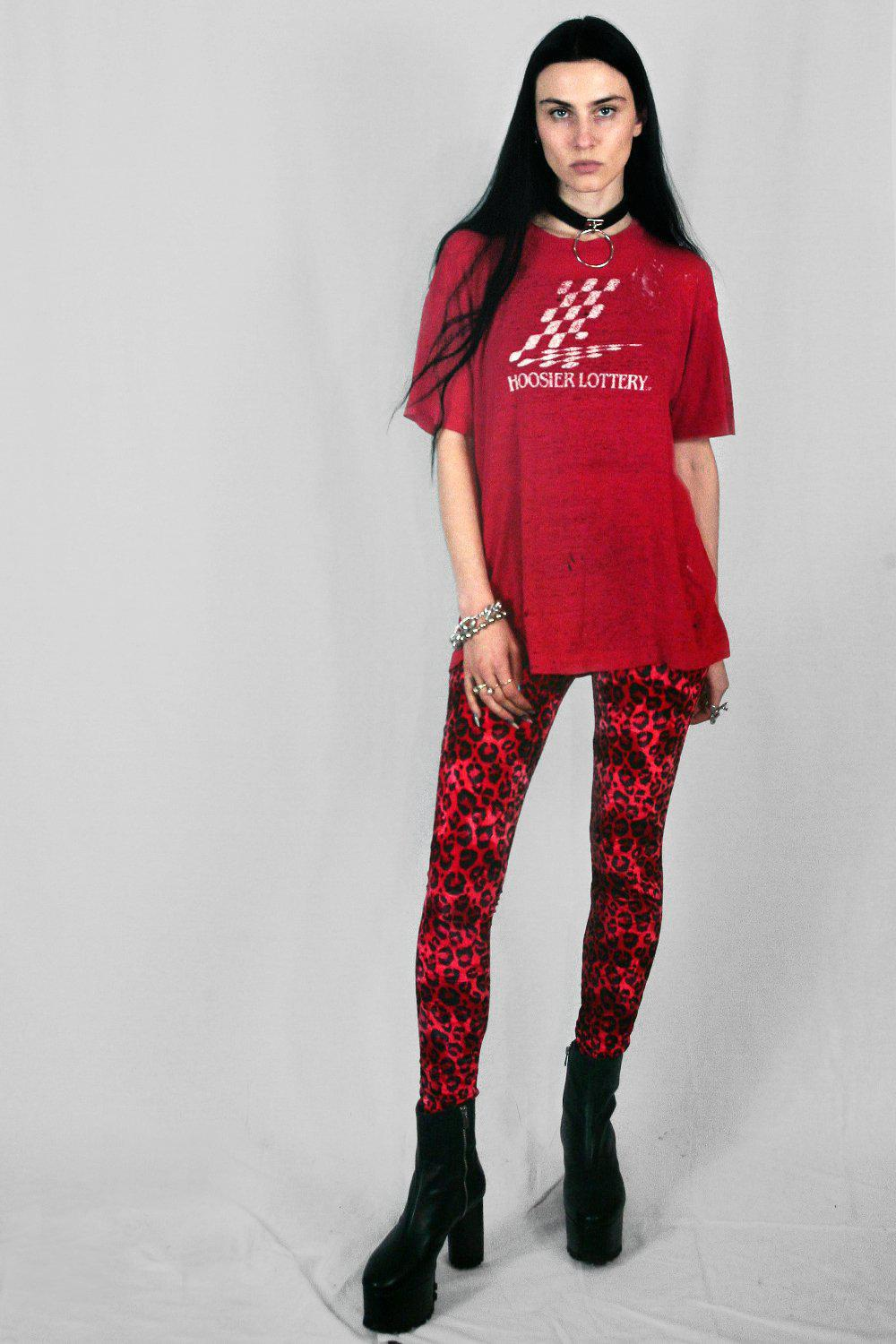 Red Cheetah Velvet Grommet Pants