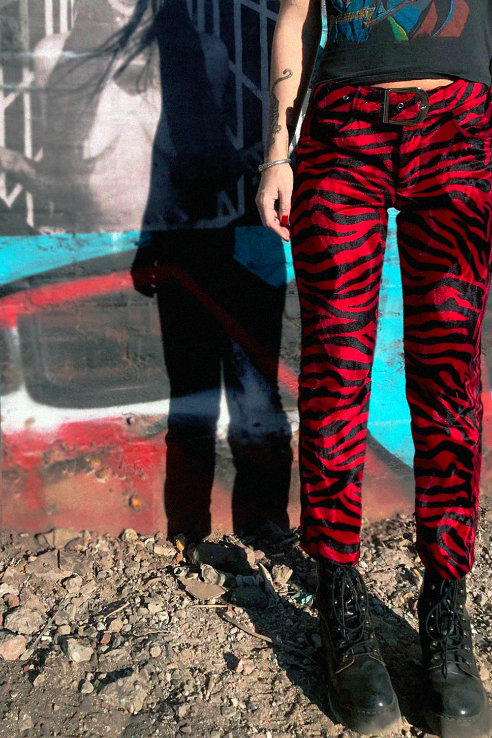 *In Stock Now!* Electric 77 Red Zebra Cigarette Pants, bottoms, BACKBITE, BACKBITE