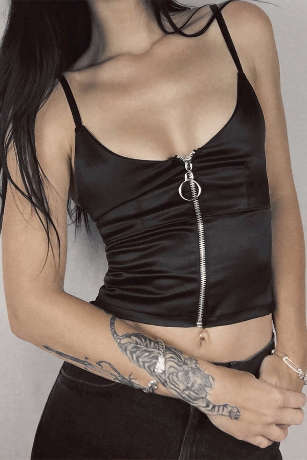 The Renegade Zipper Top in Black Satin