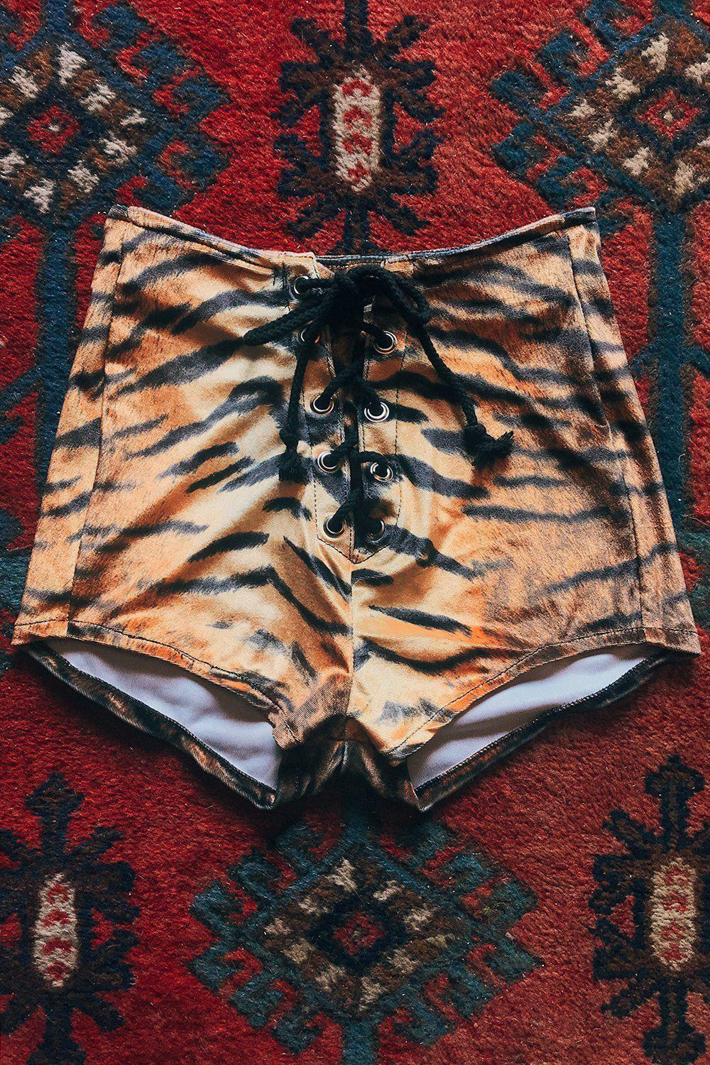 Z Velvet Grommet Shorts・Tiger, bottoms, BAD VIBES, BACKBITE