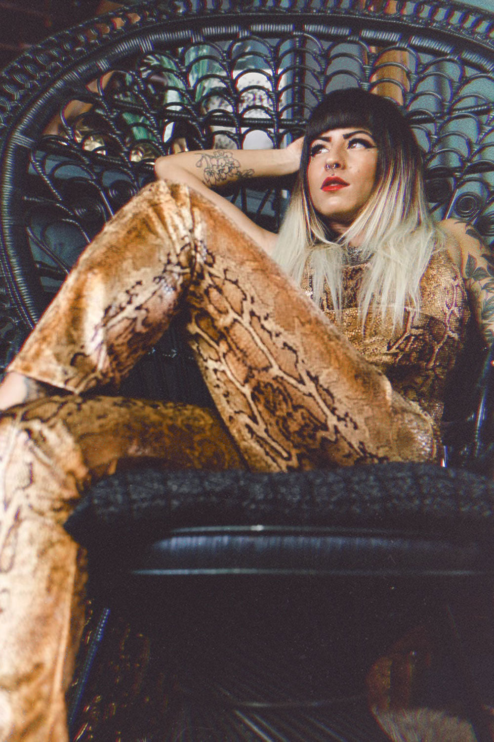 The Tropicana Jumpsuit in Golden Cobra