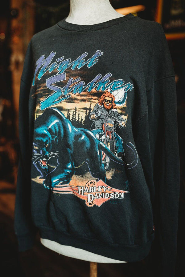 1980s Night Stalker Black Panther Harley Davidson Soft 'N Thin Sweatshirt, Outerwear, BACKBITE, BACKBITE