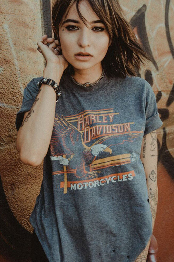 1980s Paper Thin & Faded Grey Harley Davidson 50/50 Eagle Tee, Tops, BACKBITE, BACKBITE