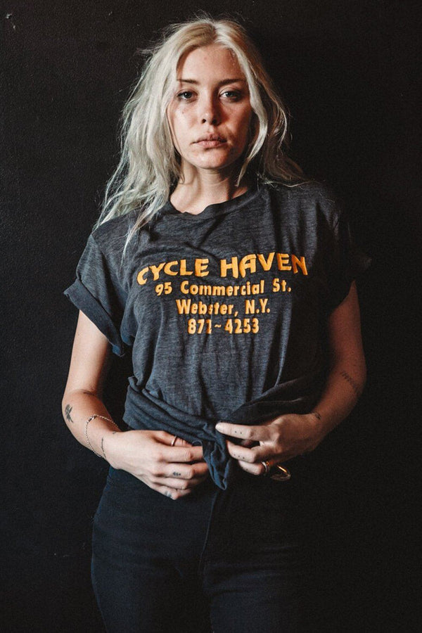 "Cycle Haven ""Home of The Maniacs If You Fuckin Dare"" Paper Thin 50/50 Tee"