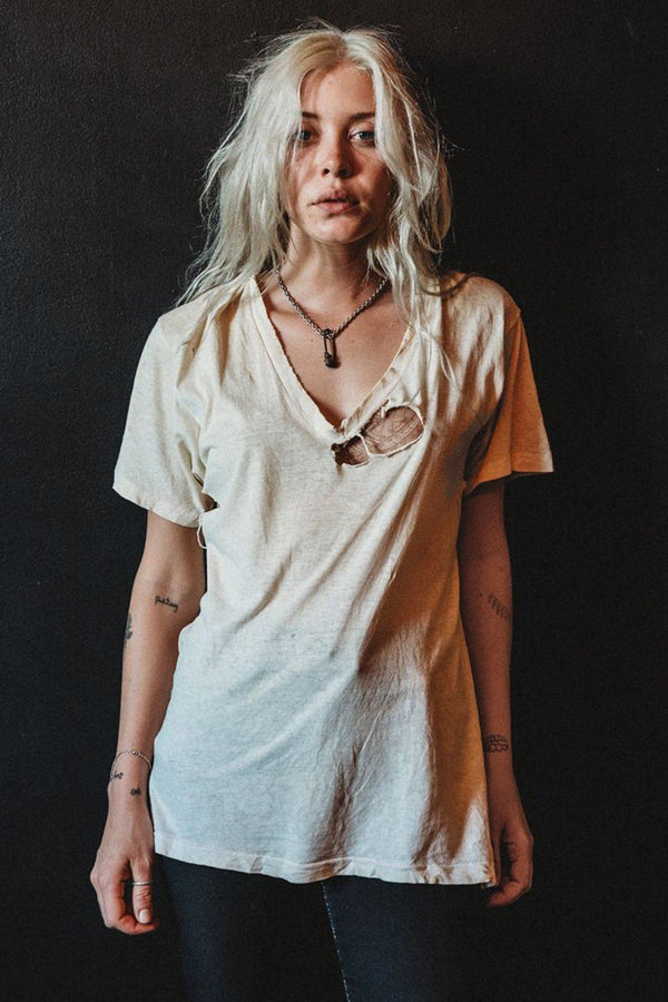 Perfectly Destroyed Vintage Blank Eggshell White Tee
