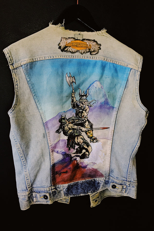 Hand-painted Frazetta Denim Patched Vest