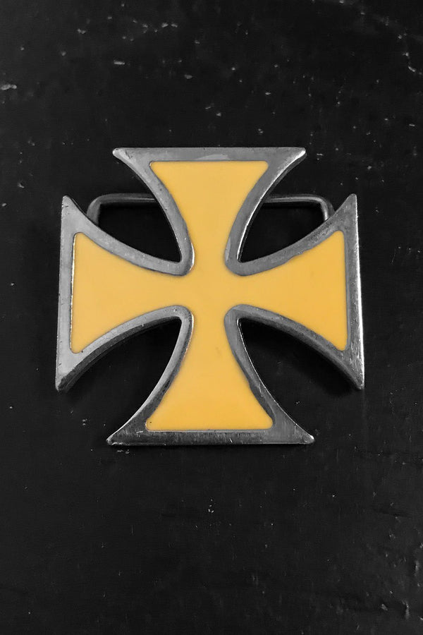 Vintage Iron Cross Enameled Steel Belt Buckle