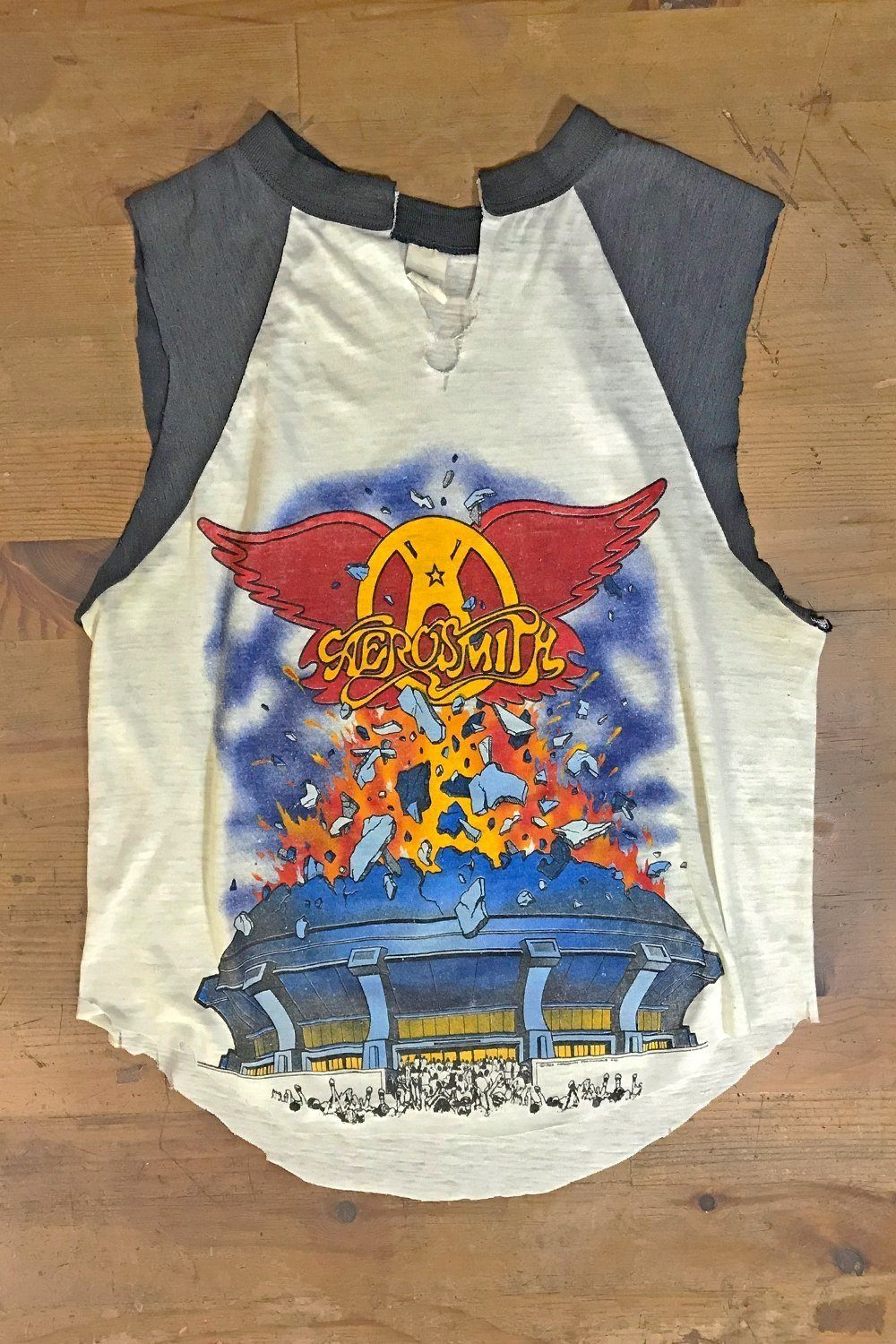 Vintage '82 Paper Thin 'Rock In A Hard Place' Aerosmith Raglan