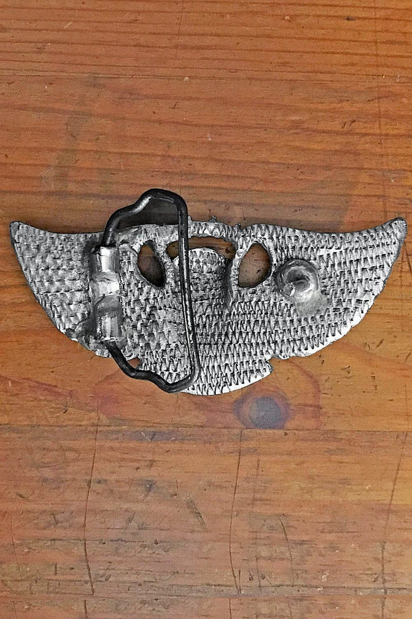 Vintage Flying Skull Pewter Belt Buckle