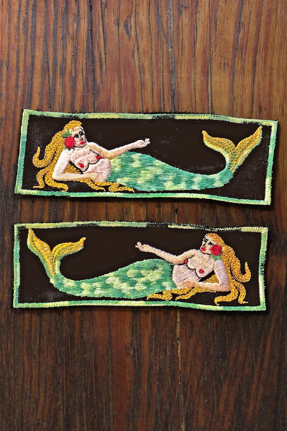"Vintage 6"" Topless Mermaid Vietnam Liberty Cuff Patches"