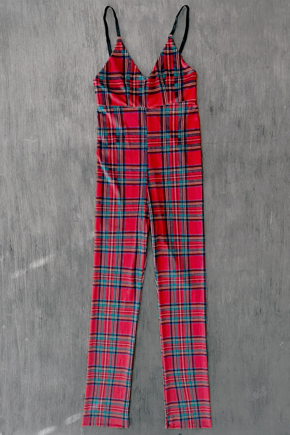 Vivienne Red Plaid Jumpsuit | In Stock