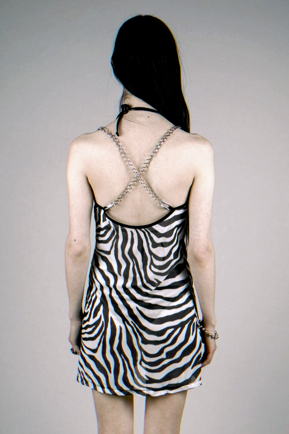 The Heavy Metal Chain Dress in Zebra Mesh Size S