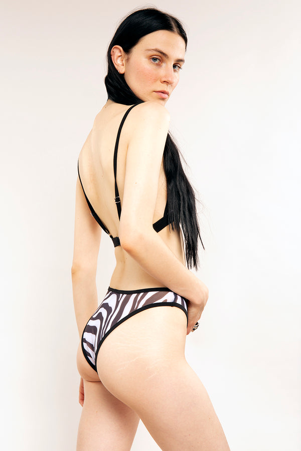 The Lynx Lingerie Set in Zebra Mesh