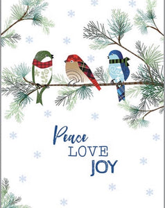 Holiday Card - Winter Birds & Pine