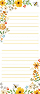 List Pad - Bees Flowers And Honeycomb