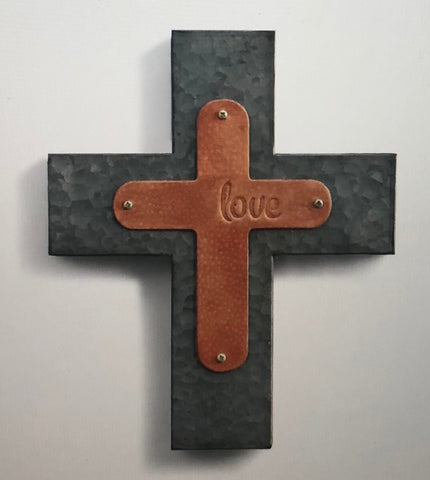 Love Wall Cross Genuine Leather Galvanized Metal