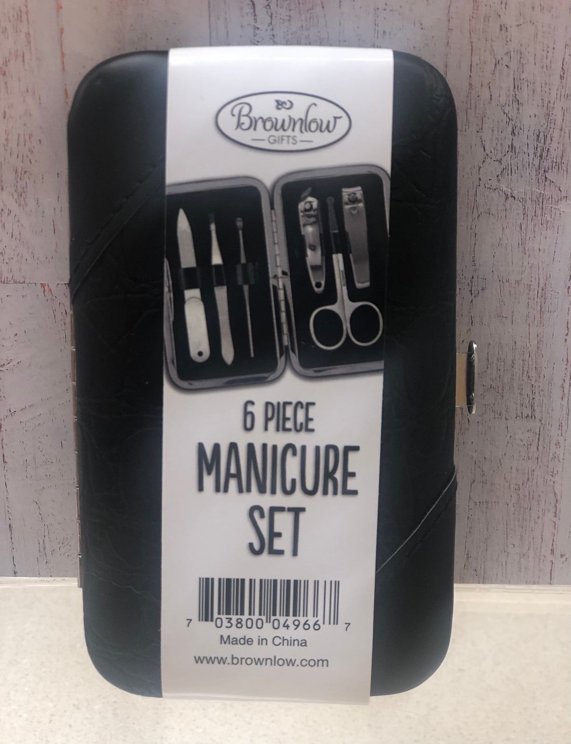 Black Faux Leather Manicure Set