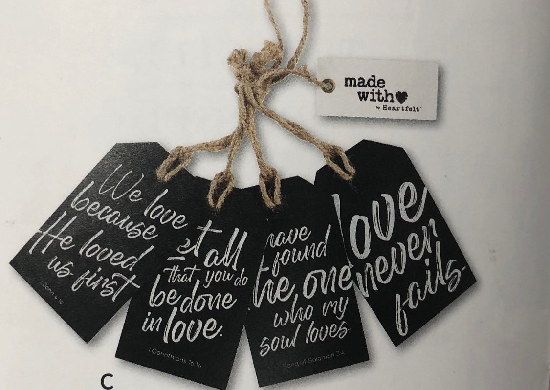 Wooden Tag Sets - Love Never Fails