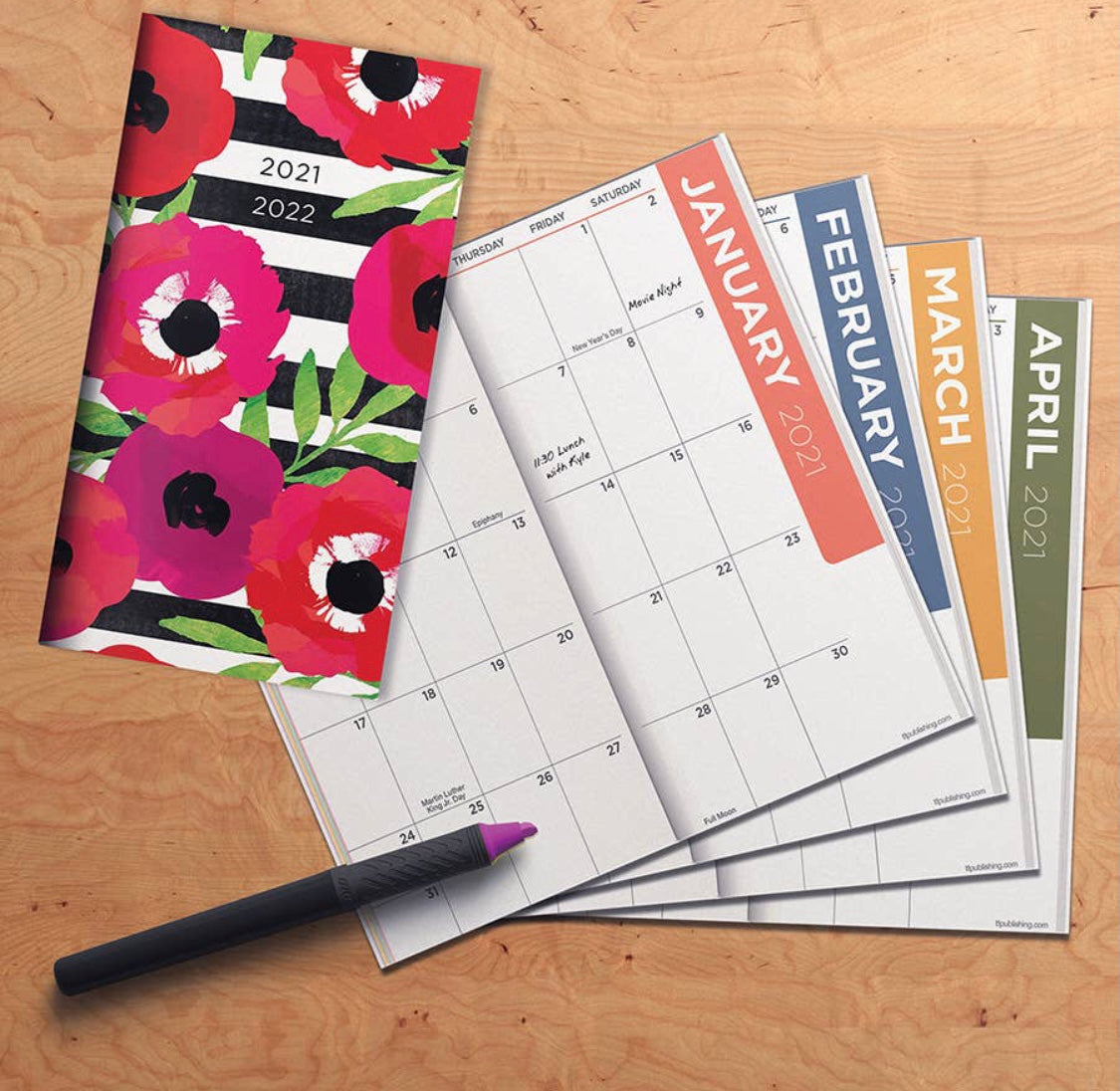 2021-2022 Classic Floral Stripe 2-Year Small Monthly Planner