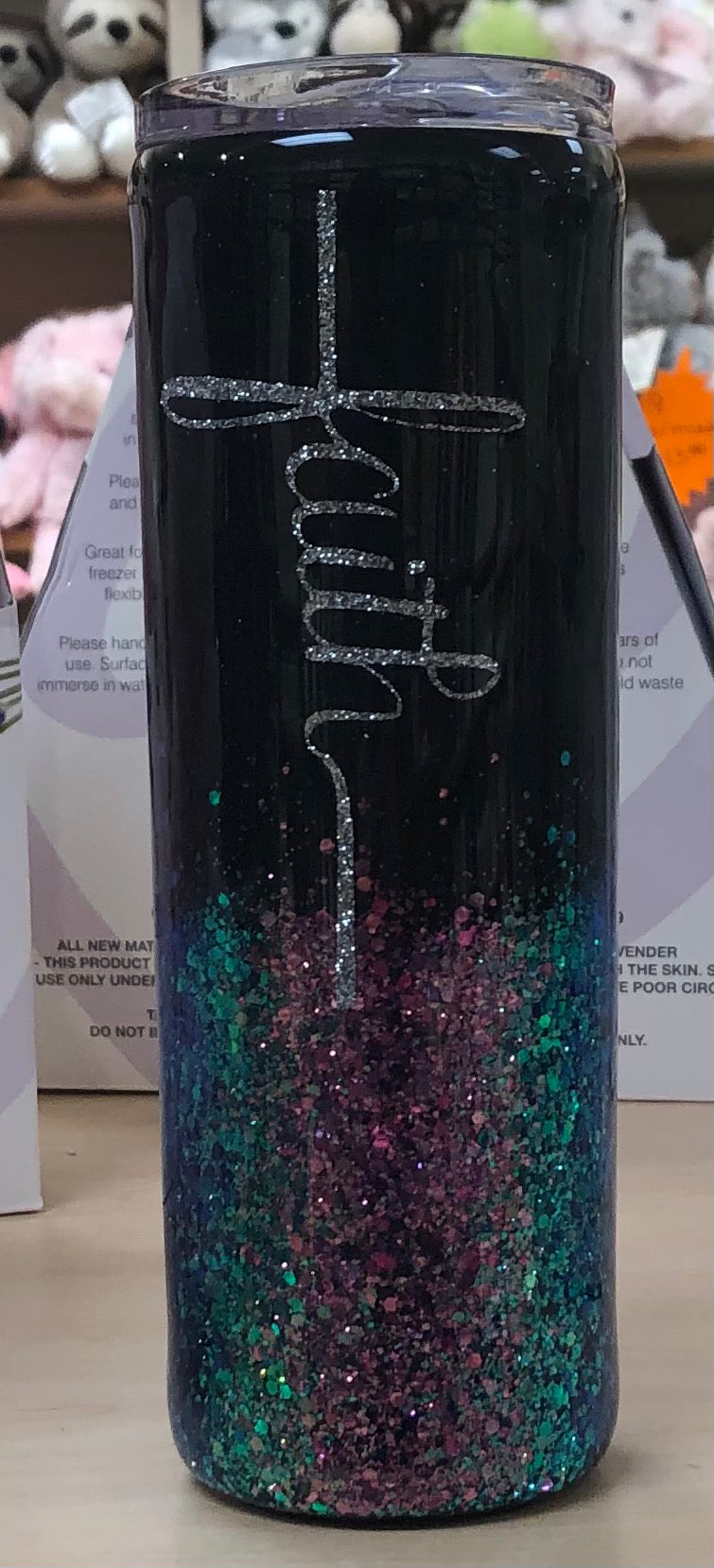 Faith Tumbler (Blue/Green/Purple Glitter)