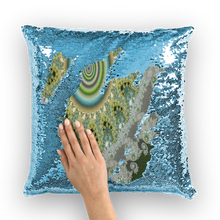 Load image into Gallery viewer, Olive Solar Sequin Cushion Cover