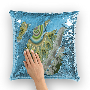 Olive Solar Sequin Cushion Cover